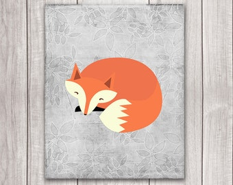 Fox Art Printable - 8x10 Fox Nursery Art, Nursery Art, Nursery Decor, Woodland Animals, Nursery Wall Decor