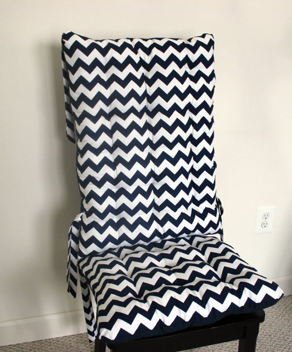 Items Similar To Navy Blue Chevron Rocking Chair Cushions Glider Pads Repla