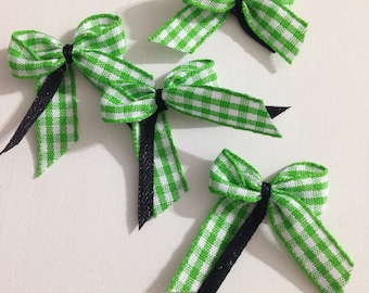 Lot of 4 simple knots in Ribbon green gingham and black