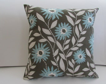 Floral Brown With Light Blue Pillow Cover, Fenten Blue/Natural Pillow Cover