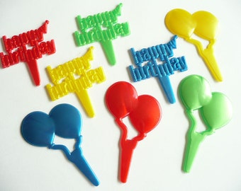 24 Happy Birthday and Balloons Cupcake Picks Decorations Party Supplies Cake Toppers