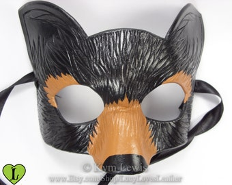 Black Bear Masquerade Mask, Fursona Mask, Forest Animal mask, Leather Bear Mask, Spirit Animal, Handmade Mask