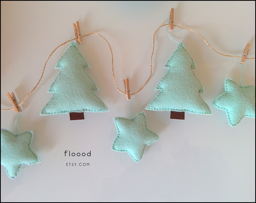 Christmas decor christmas tree garland mint green by Garland tree decoration