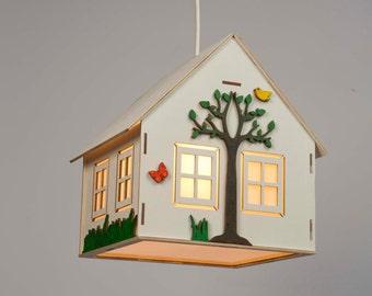 Kids lamp , children's lamp , lamp for baby , hanging wooden lamp , kids bedroom lamp , pendant lamp , night light , ceiling lighting