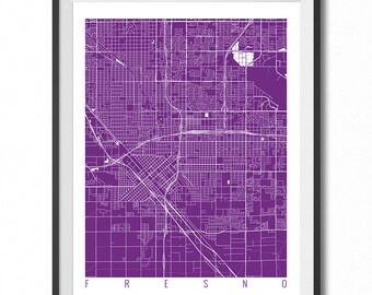 FRESNO Map Art Print / California Poster / Fresno Wall Art Decor / Choose Size and Color