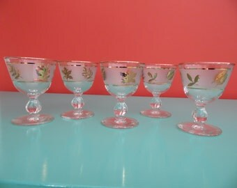 Libbey Frosted Cordial Brandy Glasses in Golden Foliage Pattern