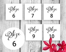 Flip Flop Size Tags for Weddings and More Printable DIY Instant Download PDF JPG sz Instant download