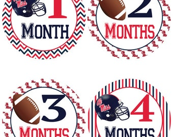 Ole Miss Rebels Football Baby Belly Stickers ~ College Football Monthly Baby Stickers (319)