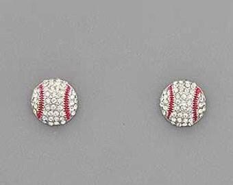 Baseball  Rhinestone Post Style Earrings