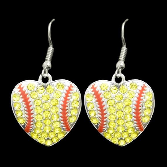 softball shaped rhinestone earrings