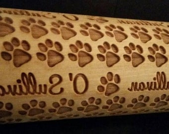 Family Paw Print Personalized Rolling Pin
