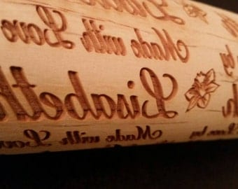 With Love by ...with daffodil flower Personalized Rolling Pin