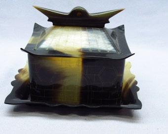 Faux Tortoise Shell or Horn Pagoda Trinket Box