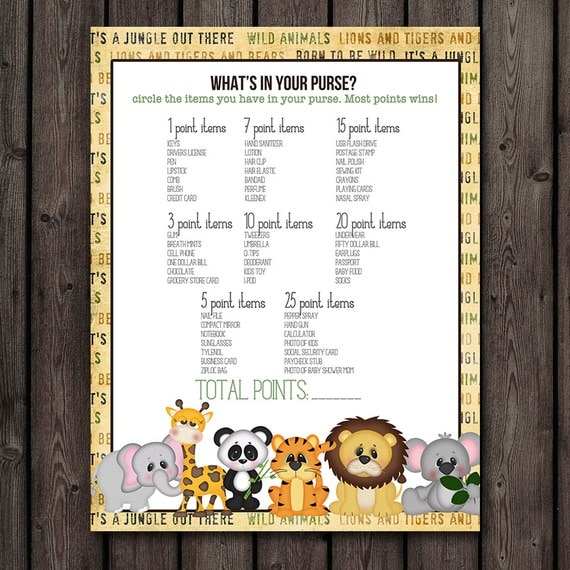 baby shower games whats in your purse baby shower safari baby shower
