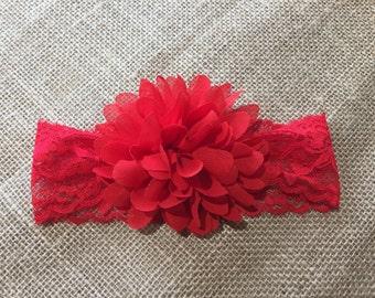 Lace Stretch Headband,  Red Lace Headband, Red Headband, Newborn Headband, Girls Headband, Big Flower Headband, Headband for Babies