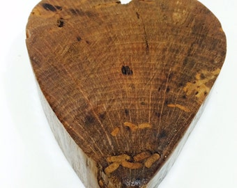 Solid Oak Heart hand carved