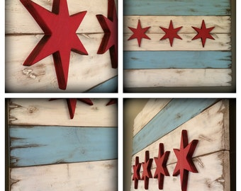 36 x 21 - Rustic Wood Chicago Flag