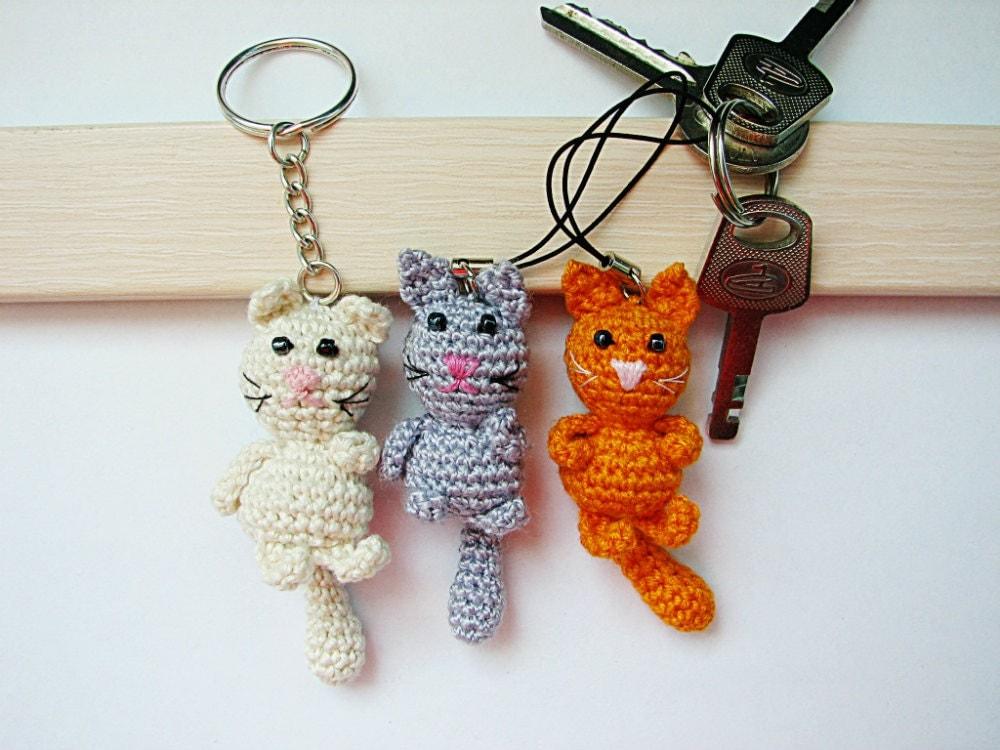 Crochet Purse Keychain Pattern : Crochet keychain/Crochet Cat/ Amigurumi Cat/ Cat Keychain/