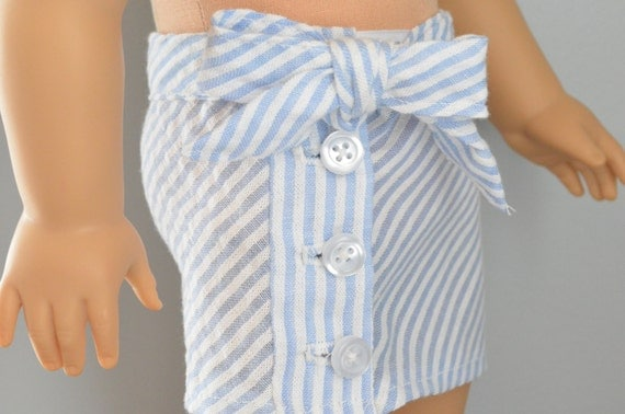 Seersucker Button Up Skirt for American Girl Doll
