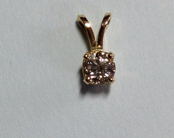 14k yellow  gold diamond  solitaire pendant-.28 carat; April birthstone, all occasion gift