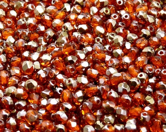 100pcs Czech Fire-Polished Faceted Glass Beads Round 4mm  Hyacinth Valentinit