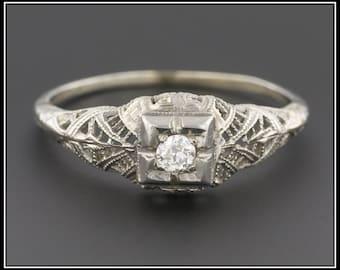 Art Deco Engagement Ring | Vintage Engagement Ring |  18k White Gold Filigree Ring | Diamond Ring | Filigree Engagement Ring