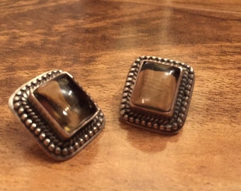 Vintage Sterling Silver Earrings 925 with stone Pierced Earrings Gemstone Gem M-026