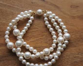 Vintage Faux Pearl Three layers Bracelet   8 inches long O-0052