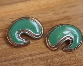 Jewelry Vintage Earrings  Silver Clip On Green  R-047