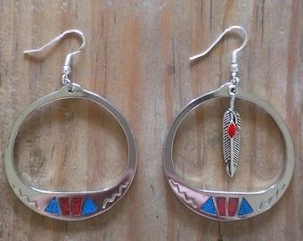 Native American Earrings, Sterling Silver Earrings, Native Indian Earrings, Metal Feather Earrings, Red Coral Earrings, Turquiose Earrings