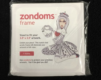 """zondoms™ crystal clear acrylic frame* for Zentangle® tiles or any artist tile sized 3.5"""" x 3.5"""" (set of 3) *artwork not included"""