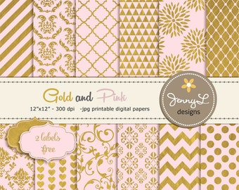 Pink and Gold Digital Papers, Gold Digital Scrapbooking Papers, Pink and Gold, Damask Digital Paper, Dahlia Digital Paper