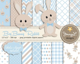 Bunny Rabbit Digital papers, Boy Bunny Clipart SET,Bunny Baptism, Birthday, Baby Shower, Easter, Blue and Brown Theme, Animal Digital Paper,