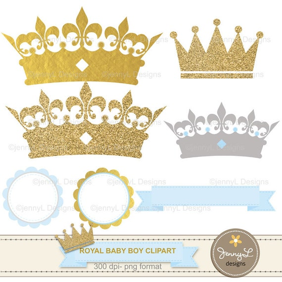 Crowns For Baby Shower: Gold Crown Digital Papers And Clipart, Royal Prince Boy