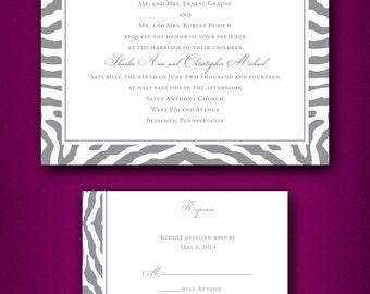 Zebra Print Wedding Invitations • Trendy Wedding Invitations • Zebra Wedding Invitations • Animal Print Wedding Invites • Fun Wedding •