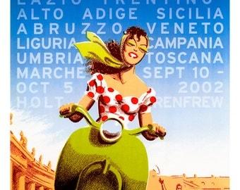 Viva Italia Poster, Bella, Vespa, Italy, Italian Travel Poster, Italia