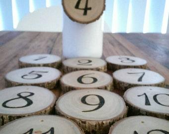 Log slice table numbers - Set of 10 - Rustic wooden table numbers