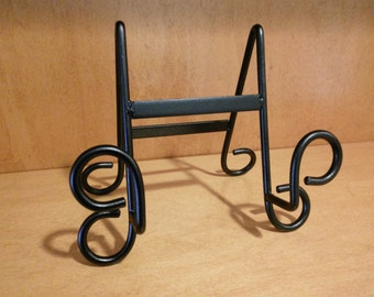 Table top plate rack, plate holder, plate display, trivt holder, plate easel, black wrought iron plate stand
