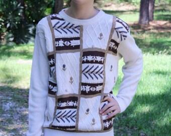 Vintage 90s Block Print Sweater with Shoulder Pads Size Medium