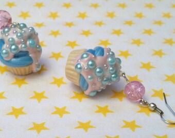 Cupcake earrings blue