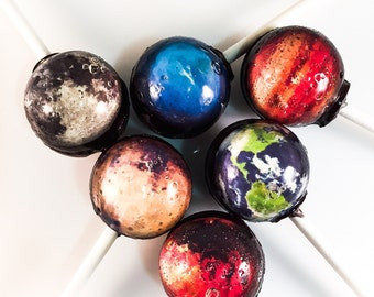 6 Planetary Outer Space Hard Candy Lollipops