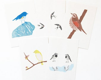 5 postcards of wild birds  (printed with a stencil printing machine)
