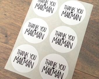 Stickers (6 pieces) 3,8 cm Thank you mailman (D04)