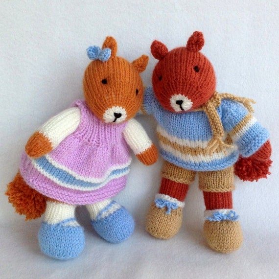 HEATHER and BRACKEN - knitted squirrel knitting pattern - Instant Digital Download - PDF