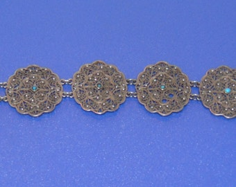 Vintage Filigree White Metal Bracelet Set With Turquoise Stones