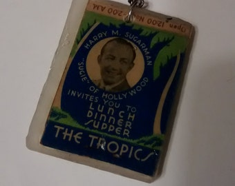 "handmade keychain &/or zipper pull ""The Tropics - Harry M. Sugarman"" MidCentury,Upcycled,Industrial,Hollywood,Geekery,Hipster,Kitsch,Vintage"