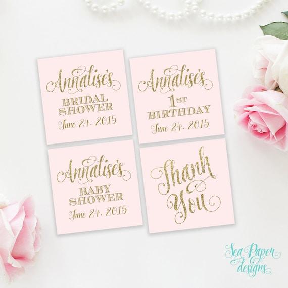 Ava Printable Favor Tags Digital Blush Pink & Gold Glitter