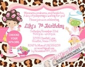 Spa Party Invitation  - Spa invitation - DIY Printing Only -  Choose Your Spa Girl - Pajama Party