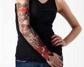 Unisex SKULL & ROSES Mesh Tattoo Sleeve, Temporary Tattoo, Large Tattoo, Fake Tattoo, Halloween Costume, Halloween Tattoo, Halloween Gift