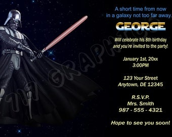 Star Wars Darth Vader Birthday Invitation - Printable
